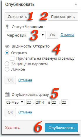 Публикация записи в WordPress