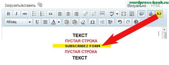 Кнопка S2 в панели визуального редактора