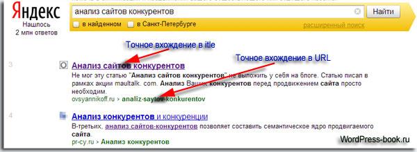 Точное вхождение ключевого слова в title и в URL