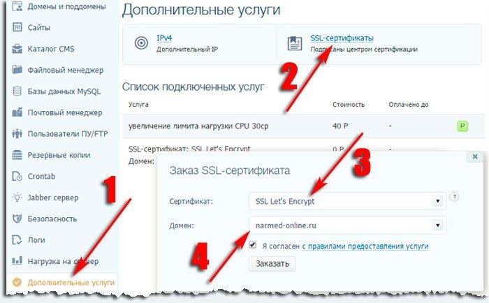 Заказ SSL сертификата на TimeWeb