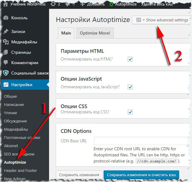 Настройки плагина для WordPress Autoptimize