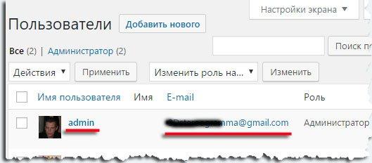 Имя (логин) и Email администратора сайта WP