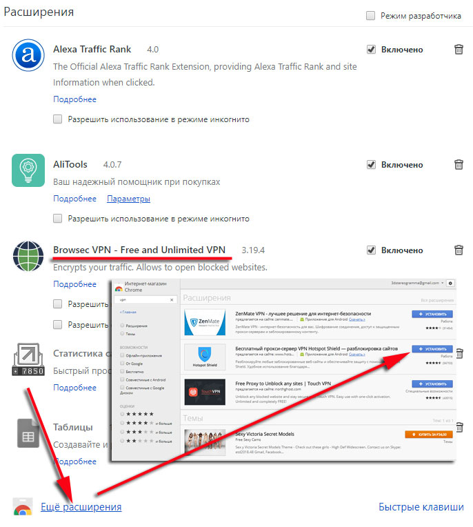 Расширения браузера Google Chrom